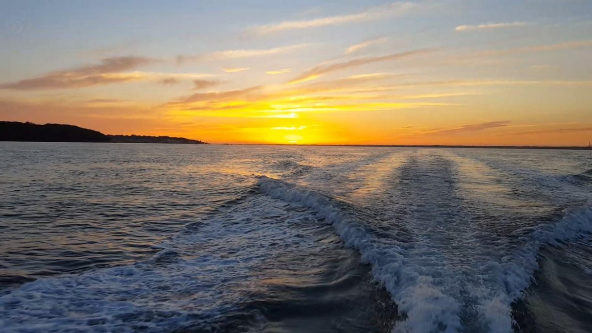 Sunset on board Allegro with Hamble Power Boat Charters