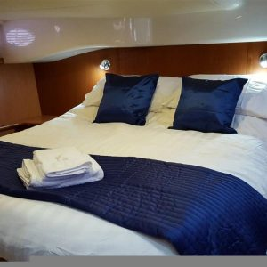 Allegro aft bedroom Hamble Powerboat Charters