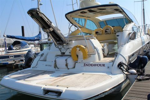 Endeavour swim platform Hamble powerboat charters