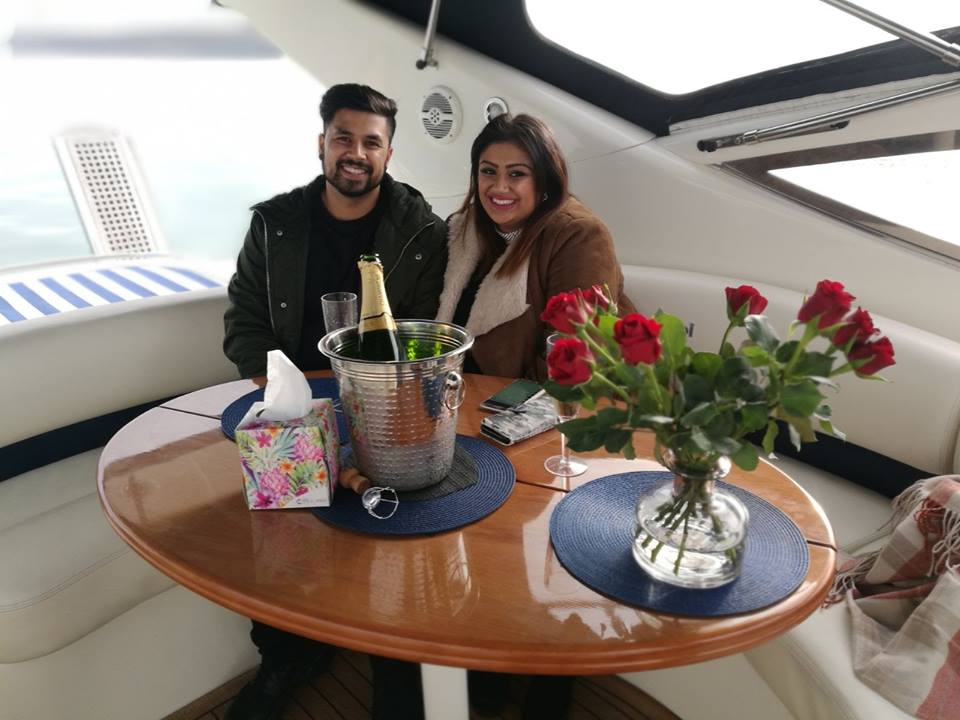 Marriage proposal on board Allegro with Hamble Powerboat Charters